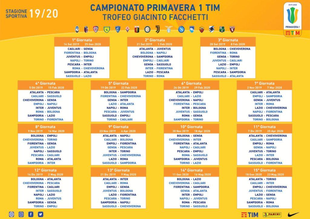 Calendario Cagliari Calcio 2020.Primavera 1 Ecco Il Calendario 2019 2020 1ª Giornata